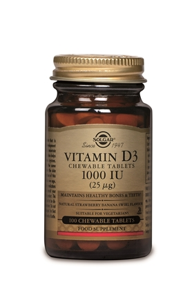 SOLGAR VITAMIN D3 1000IU 100 CHEWABLE TABS